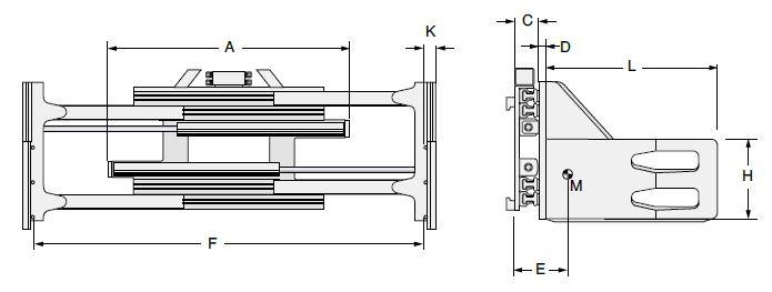 Modell 3-22K2, mit integriertem Seitenschub, starre Arme