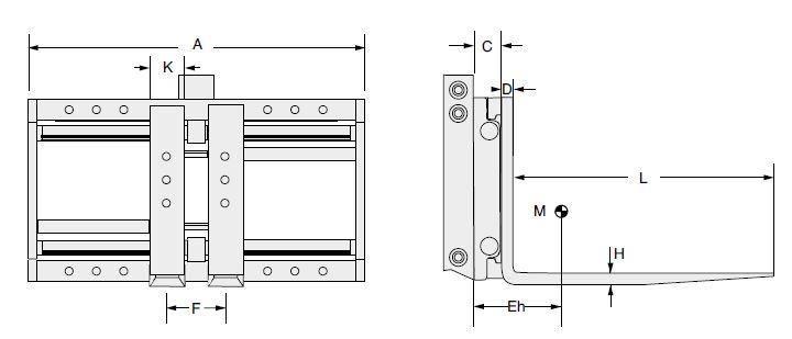 Modell 6-25 G-ZI/F-ZI (integrierter Seitenschub und angeschraubte Zinken)