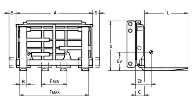 Modell 6-97H-ZI (separater Seitenschub, mit Anschweißzinken)