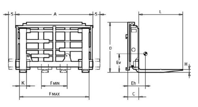Modell 6-97H-Z (separater Seitenschub, mit Anschweißzinken)