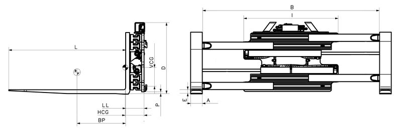 Pallet Fork Clamp, sideshifting - Model LC-H